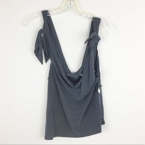 Lovers + Friends | Soft Gray Knotted Top